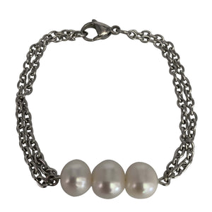 Three Freshwater Pearls Stainless Steel Chain Bracelet with Lobster Clasp