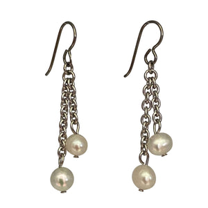 Freshwater Pearl Chain Earrings-Earrings- Creative Jewelry by Marcia