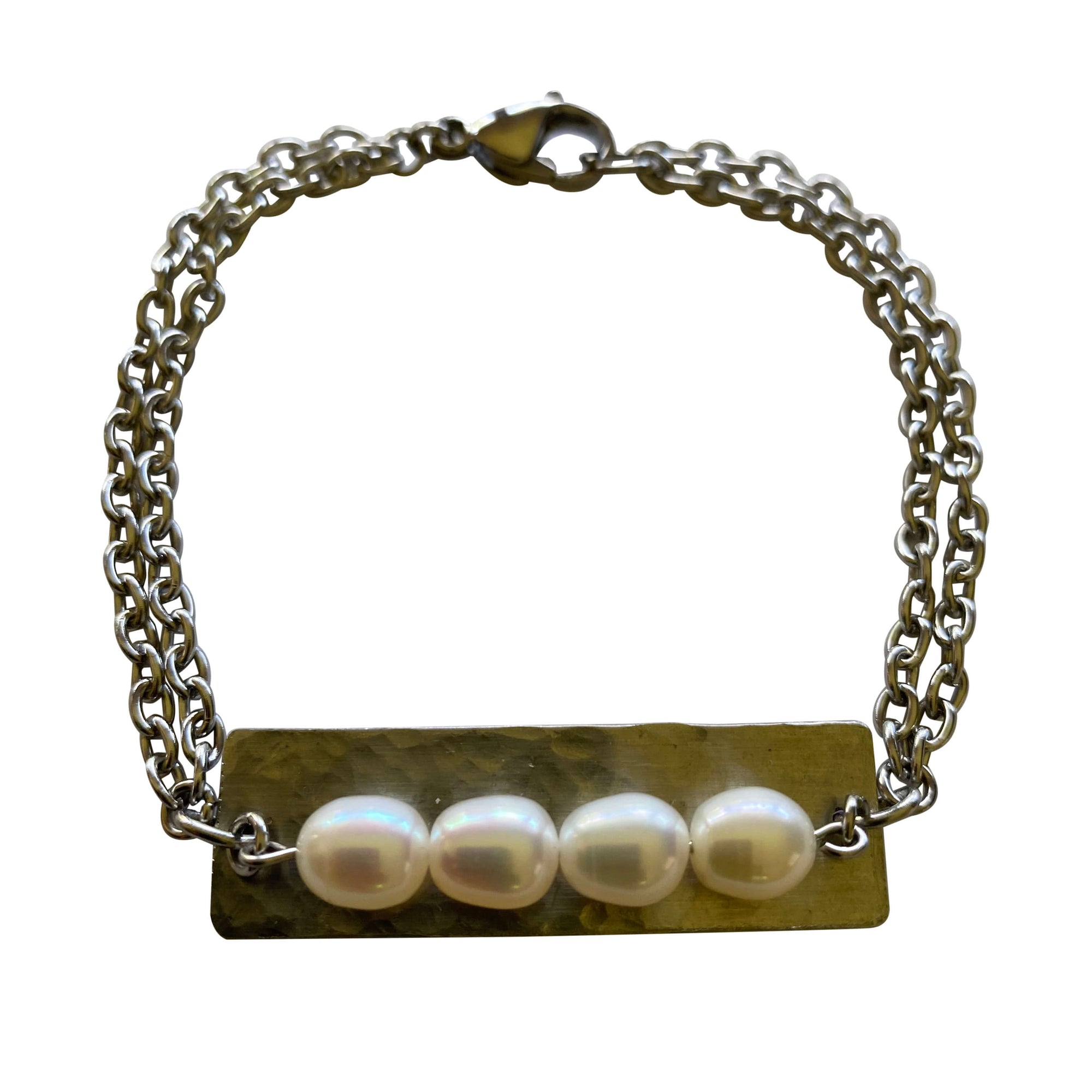 Freshwater Pearl Stainless Steel Silver Bracelet with Toggle Clasp-Bracelets- Creative Jewelry by Marcia