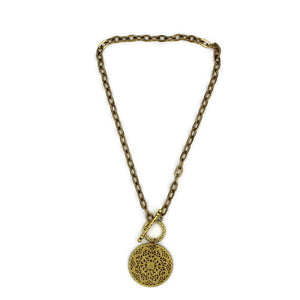 Brass Toggle Necklace with Brass Filigree Pendant
