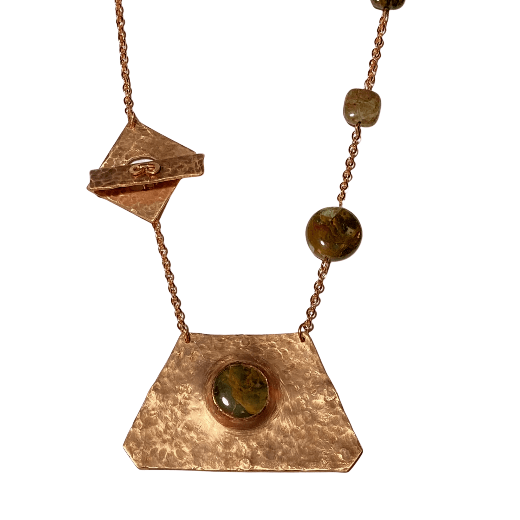 Green Opal, Copper Metal Handcrafted Pendant Necklace With Copper Chain. This is truly a one-of-a-kind, Unique Necklace.