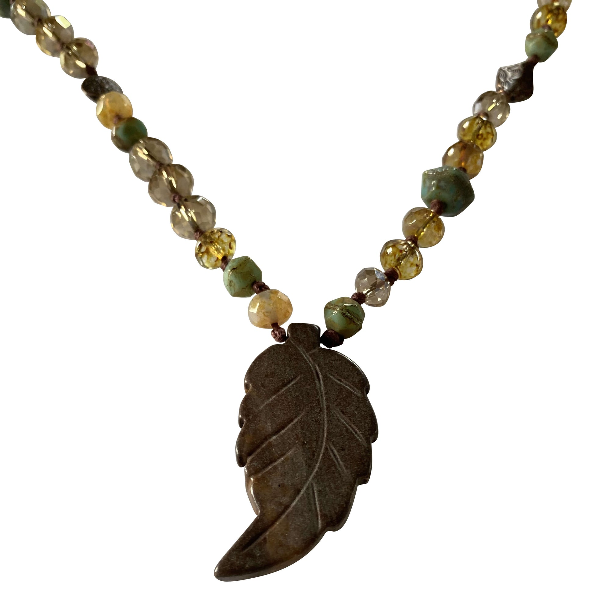 Hand Knotted Czech Table Cut Faceted Beaded Necklace with Leaf Pendant-Necklaces- Creative Jewelry by Marcia