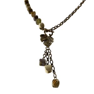Hand Knotted Ocean Jasper Long Necklace with Leaf Toggle Clasp-Necklaces- Creative Jewelry by Marcia