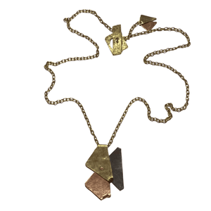 Handcrafted, Geometric Design, Riveted Brass, Copper Silver Pendant Necklace with Brass Chain and Toggle Clasp. This is a truly one-of-a-kind, unique necklace.