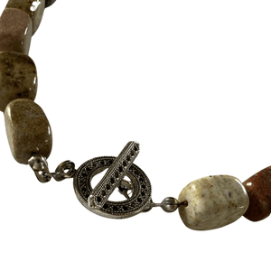 Hand Knotted, Gemstone Necklace with Silver Toggle Clasp-Necklaces- Creative Jewelry by Marcia