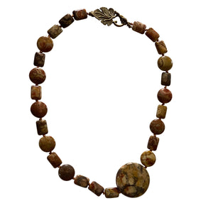 Hand Knotted, Jasper Gemstone Necklace with Leaf Toggle Clasp-Necklaces- Creative Jewelry by Marcia