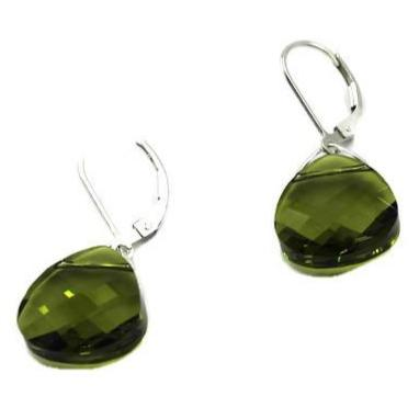 Olivine Swarovski Crystal Briolette Dangle Earrings with Sterling Silver- Creative Jewelry by Marcia