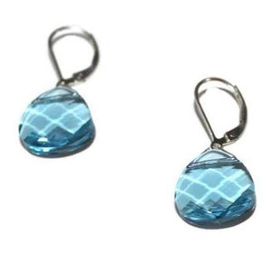 Aquamarine Swarovski Crystal Briolette Dangle Earrings - Creative Jewelry by Marcia - Asymmetrical Jewelry - Timeless Jewelry