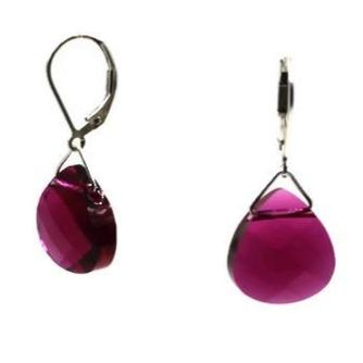 Ruby Swarovski Crystal Briolette Dangle Earrings - Creative Jewelry by Marcia - Asymmetrical Jewelry - Timeless Jewelry