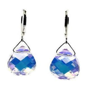 AB Swarovski Crystal Briolette Dangle Earrings - Creative Jewelry by Marcia - Asymmetrical Jewelry - Timeless Jewelry