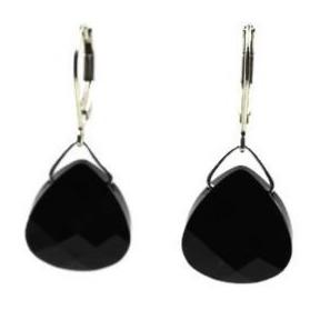 Jet Black Swarovski Crystal Briolette Dangle Earrings- Creative Jewelry by Marcia