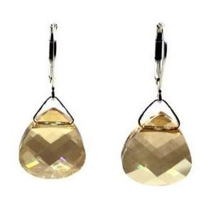 Golden Shadow Swarovski Crystal Briolette Dangle Earrings- Creative Jewelry by Marcia