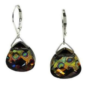 Peacock Eye Swarovski Crystal Briolette Dangle Earrings - Creative Jewelry by Marcia - Asymmetrical Jewelry - Timeless Jewelry