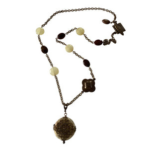 Jade and Jasper Gemstone Necklace with Vintaj Brass Chain and Toggle Clasp-Necklaces- Creative Jewelry by Marcia