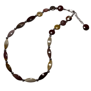 Jasper Gemstone and Sterling Silver Necklace with Lobster Clasp