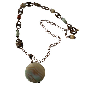 Jasper and Agate Necklace with Copper Chain-Necklaces- Creative Jewelry by Marcia