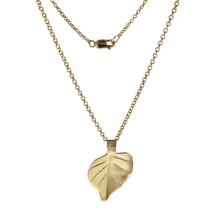 Brass Aspen Leaf Necklace with 14k Gold-filled Lobster Clasp-Necklaces- Creative Jewelry by Marcia