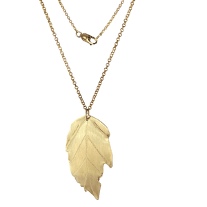 Elm Leaf Brass Necklace with 14k Gold-filled Lobster Clasp-Necklaces- Creative Jewelry by Marcia