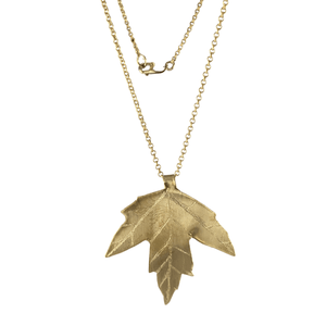 Maple Viburnum Brass Leaf Necklace with 14k Gold-filled Lobster Clasp-Necklaces- Creative Jewelry by Marcia