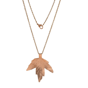 Maple Viburnum Copper Leaf Necklace-Necklaces- Creative Jewelry by Marcia