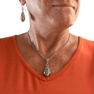 Pewter Filigree Pendant Necklace with Stainless Steel Chain-Necklaces- Creative Jewelry by Marcia