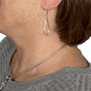 Long Silver Earrings for Sensitive Ears - Creative Jewelry by Marcia - Asymmetrical Jewelry - Timeless Jewelry