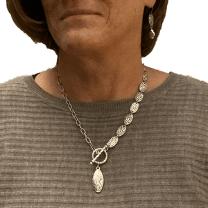Pewter Silver Toggle Necklace with Stainless Steel Chain