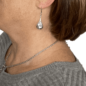 Pewter Silver Filigree Earrings for Sensitive Ears - Creative Jewelry by Marcia - Asymmetrical Jewelry - Timeless Jewelry