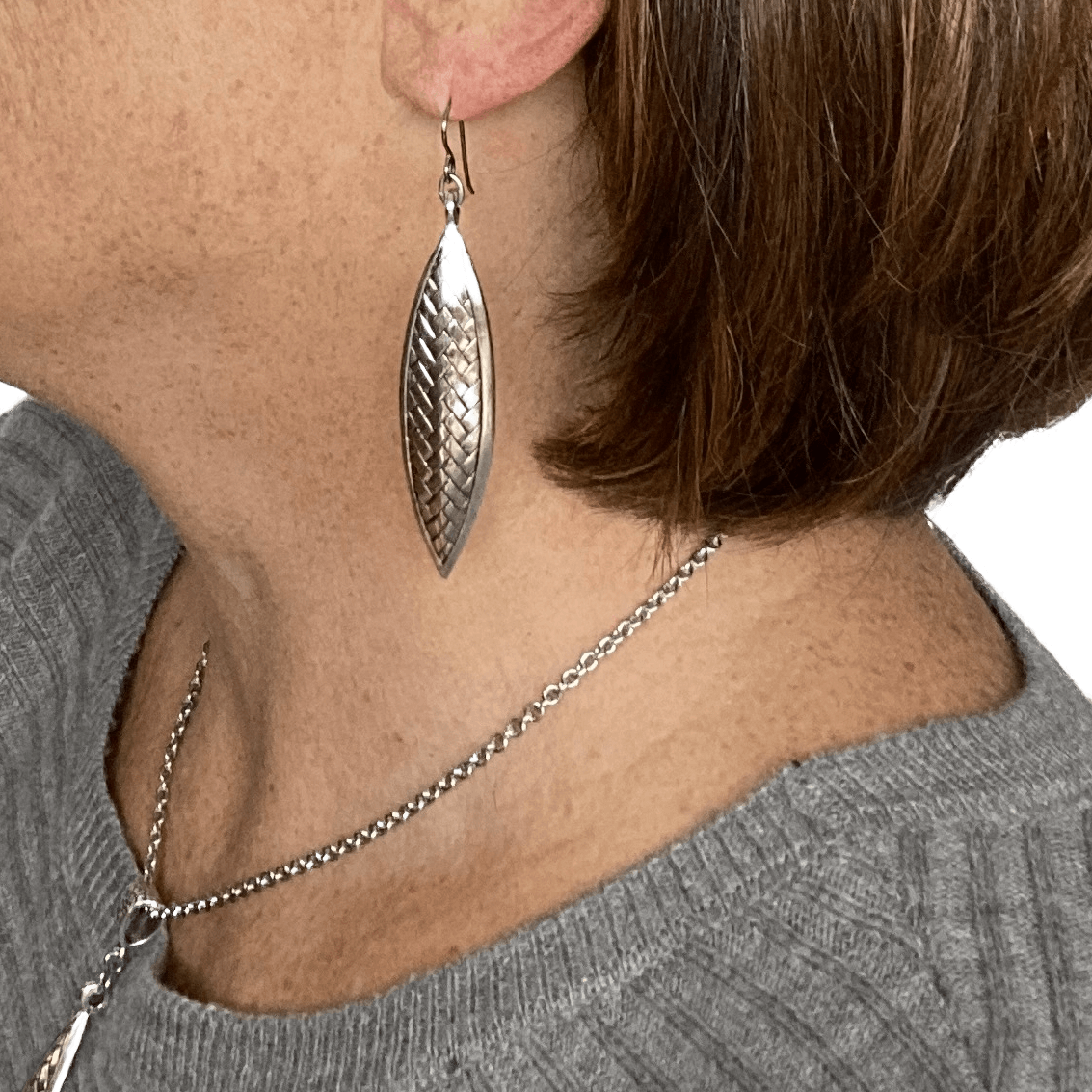 Pewter Silver Long Earrings for Sensitive Ears - Creative Jewelry by Marcia - Asymmetrical Jewelry - Timeless Jewelry
