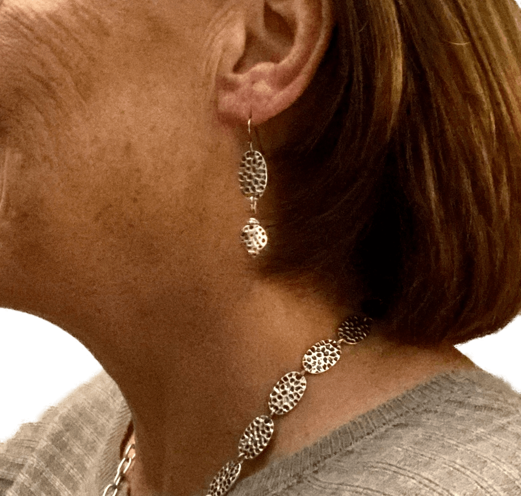 Pewter Silver Hammered Earrings for Sensitive Ears