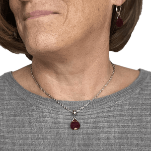 Ruby Swarovski Crystal Necklace - Creative Jewelry by Marcia - Asymmetrical Jewelry - Timeless Jewelry