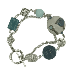 Teal Flower Silver Bracelet with Jasper and Apatite Stones-Bracelets- Creative Jewelry by Marcia