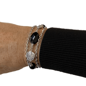 Black and Silver Bracelet with Black Onyx Stones-Bracelets- Creative Jewelry by Marcia