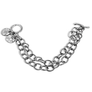 Stainless Steel Chain Circle Silver Bracelet - Creative Jewelry by Marcia - Asymmetrical Jewelry - Timeless Jewelry