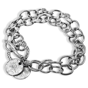 Stainless Steel Chain Circle SIlver Bracelet