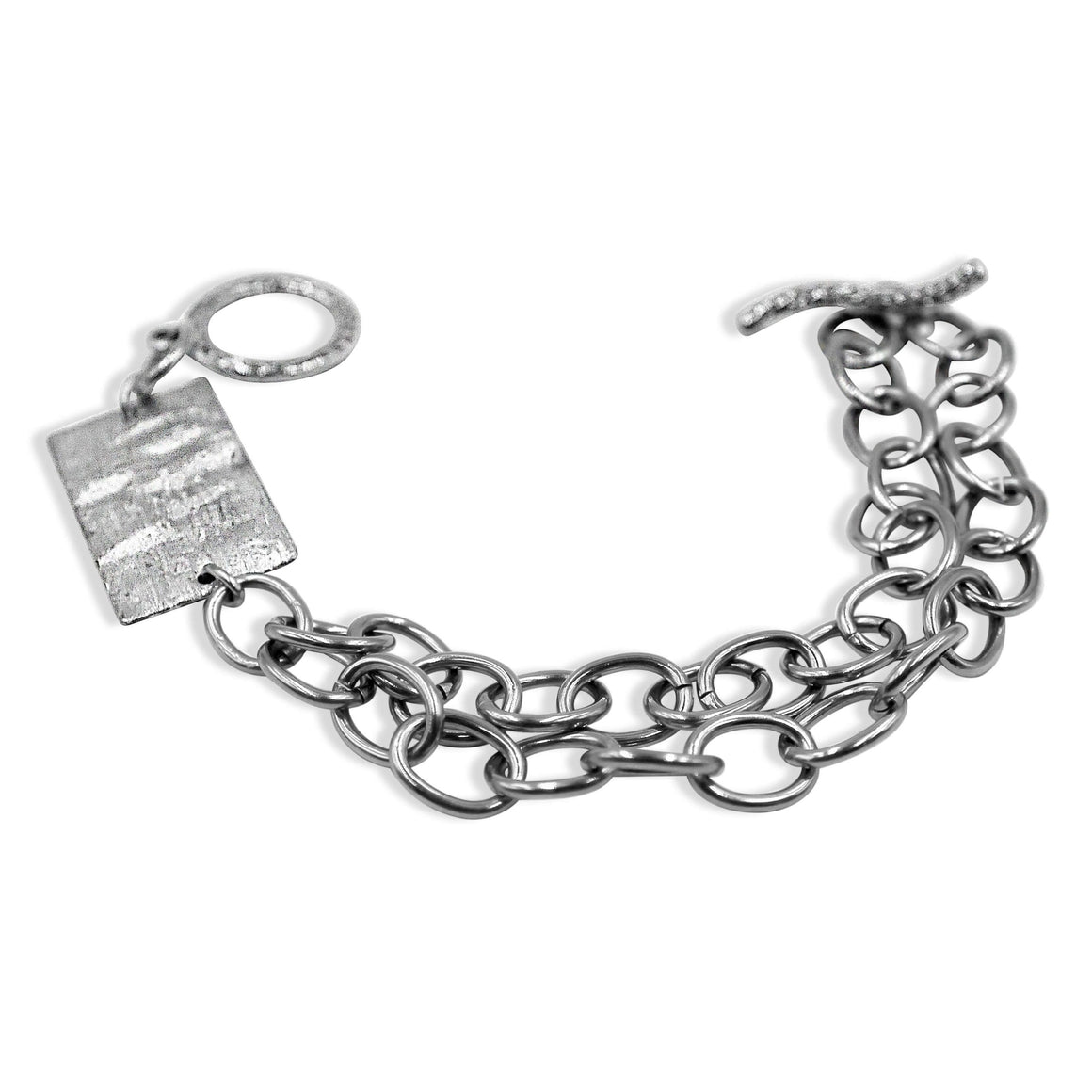 Stainless Steel Rectangle Silver Bracelet- Creative Jewelry by Marcia