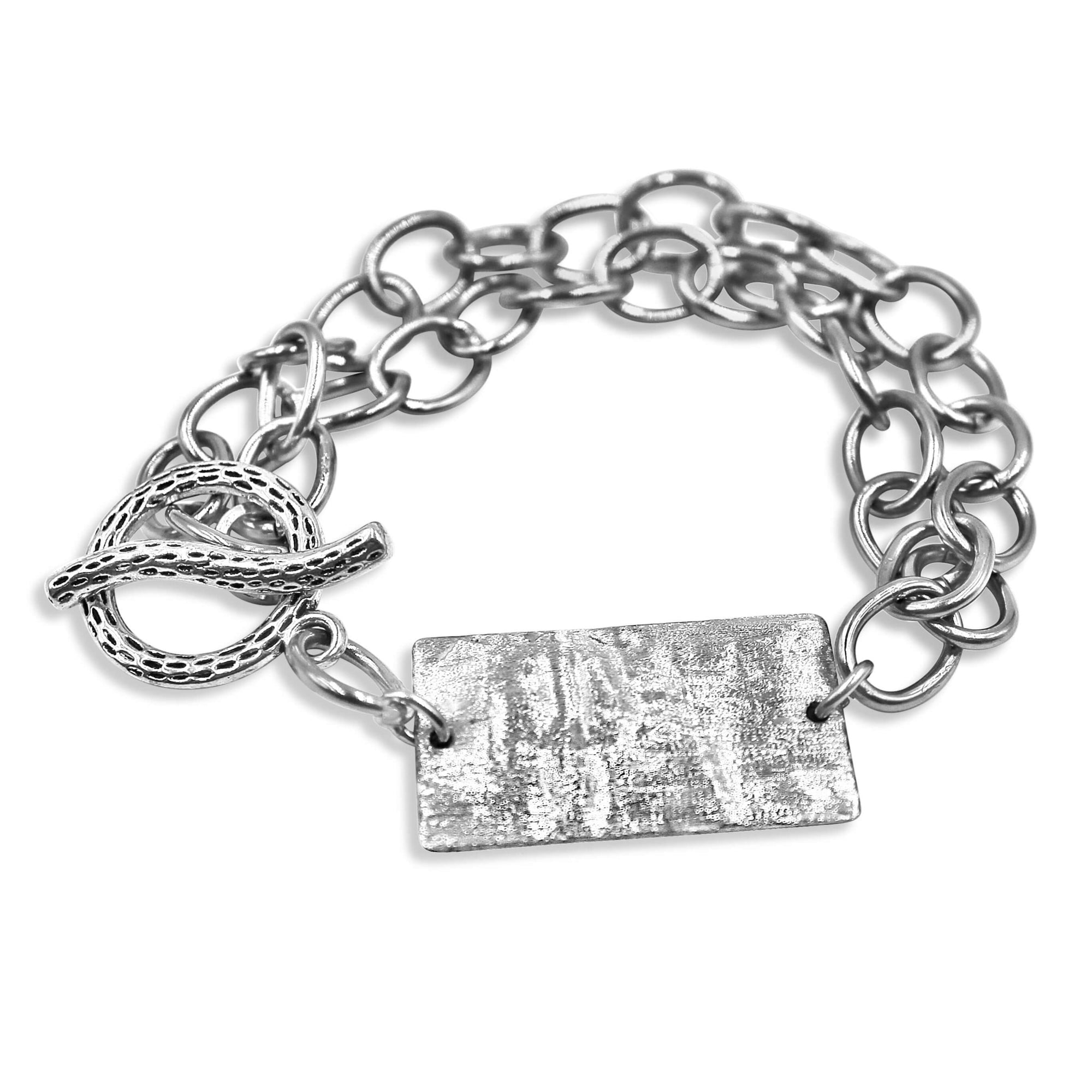 Stainless Steel Rectangle Silver Bracelet - Creative Jewelry by Marcia - Asymmetrical Jewelry - Timeless Jewelry