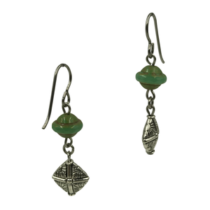 Teal Diamond Shape Dangle Earrings for Sensitive Ears-Earrings- Creative Jewelry by Marcia