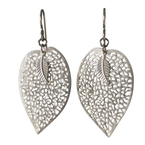 Silver Leaf Filigree Earrings for Sensitive Ears-Earrings- Creative Jewelry by Marcia