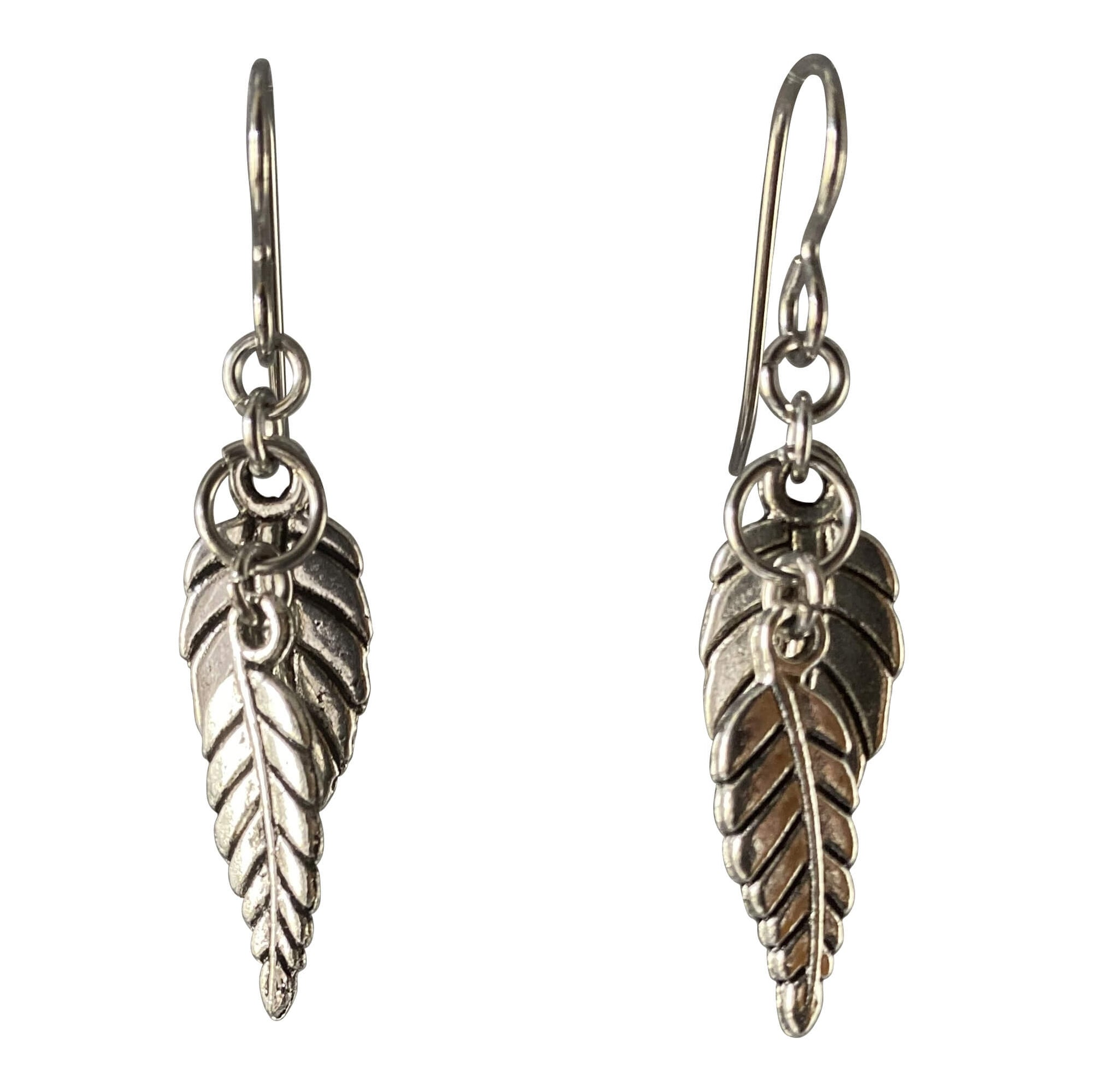 Silver Leaf Dangle Earrings for Sensitive Ears-Earrings- Creative Jewelry by Marcia