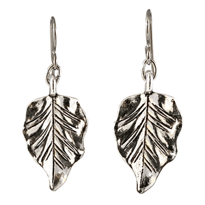 Silver Pear Shape Leaf Earrings for Sensitive Ears-Earrings- Creative Jewelry by Marcia