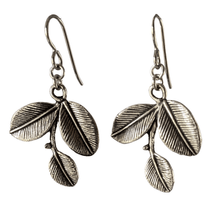 Silver Three Leaf Earrings for Sensitive Ears-Earrings- Creative Jewelry by Marcia