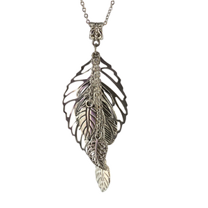 Silver Leaf Chain Necklace-Necklaces- Creative Jewelry by Marcia