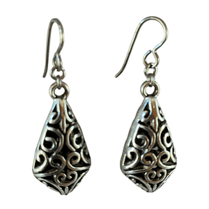 Silver Pewter Filigree Earrings for Sensitive Ears-Earrings- Creative Jewelry by Marcia