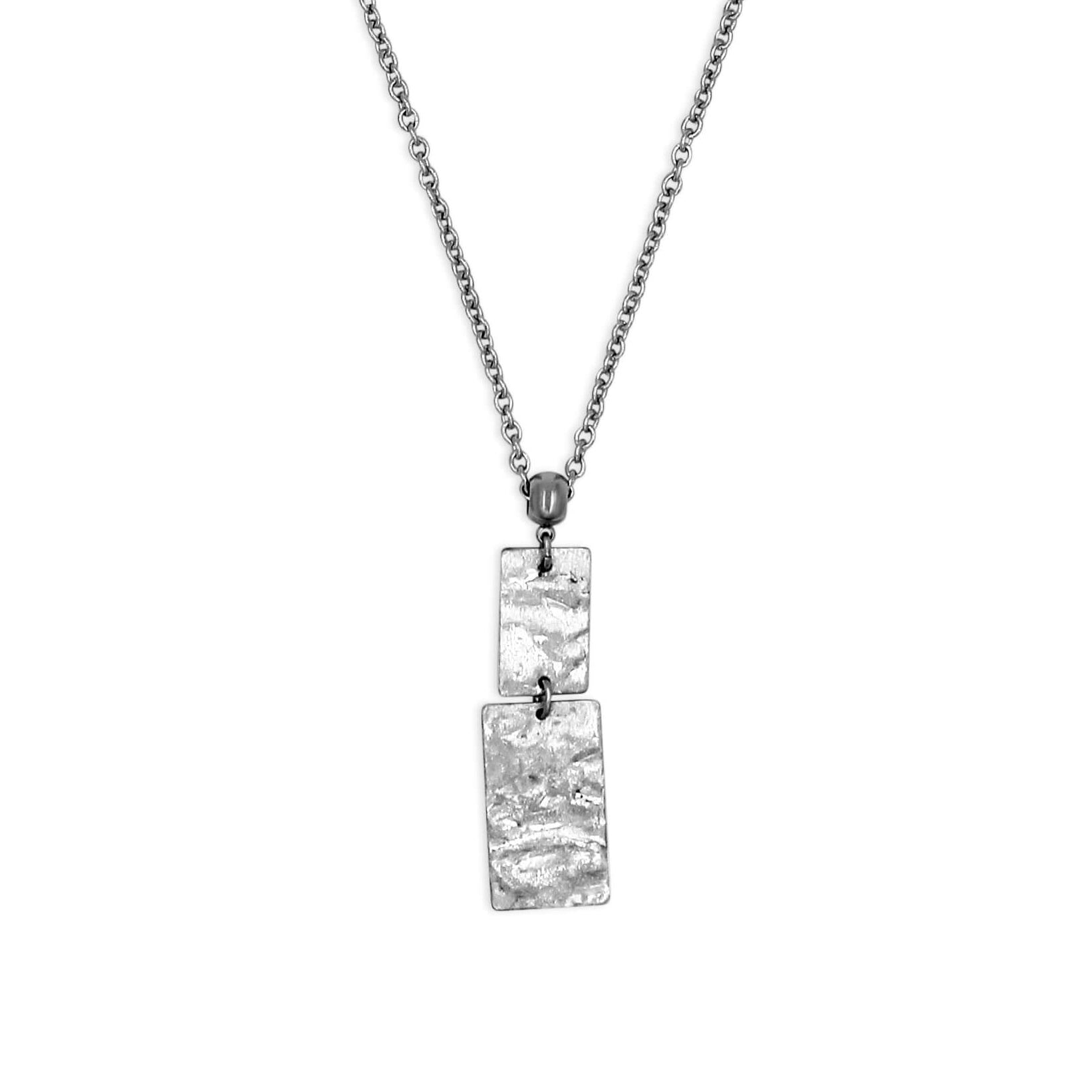 Silver Rectangle Long Pendant Necklace - Creative Jewelry by Marcia - Asymmetrical Jewelry - Timeless Jewelry