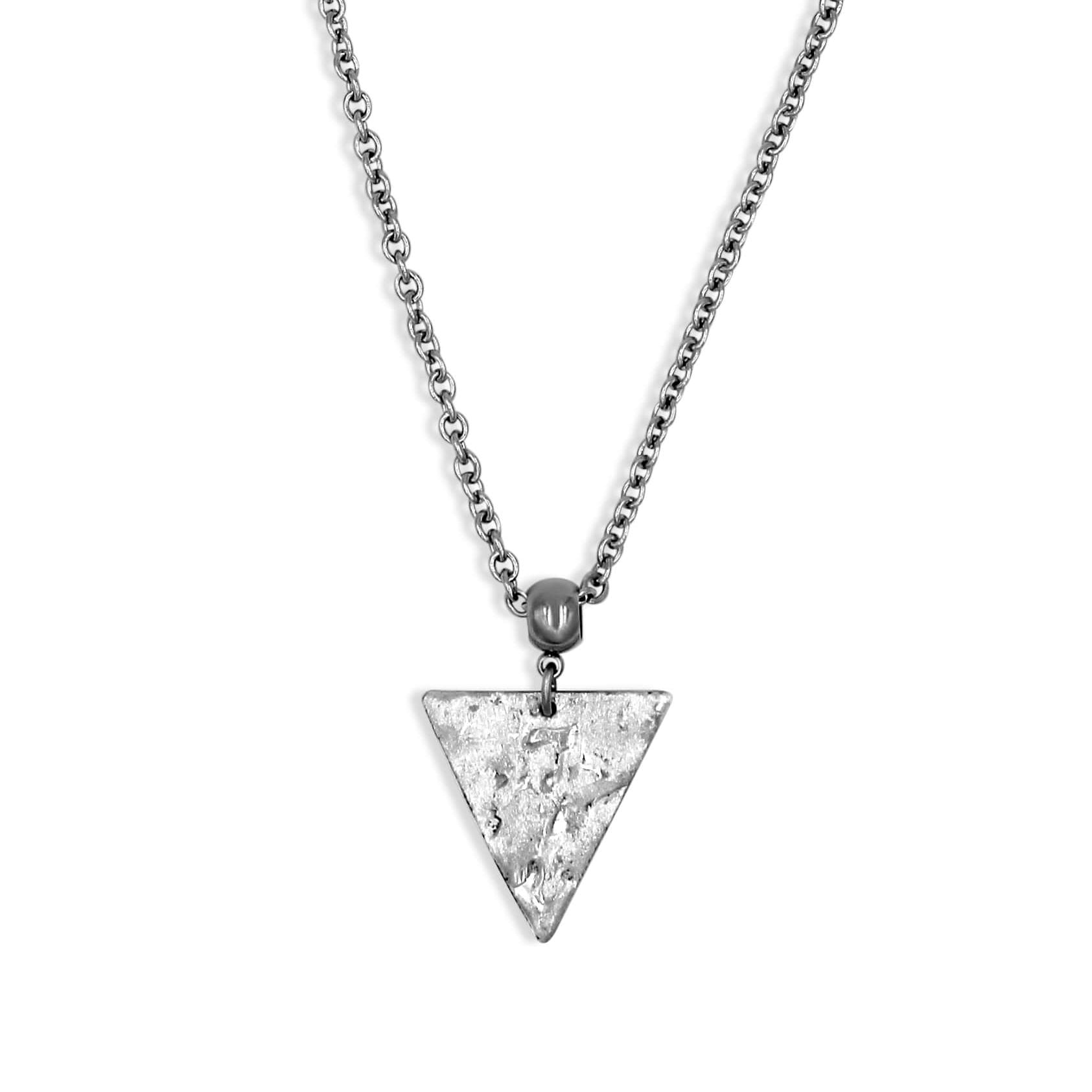 Silver Triangle Pendant Necklace - Creative Jewelry by Marcia - Asymmetrical Jewelry - Timeless Jewelry