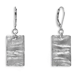 Silver Rectangle Earrings - Creative Jewelry by Marcia - Asymmetrical Jewelry - Timeless Jewelry