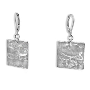 Silver Square Earrings - Creative Jewelry by Marcia - Asymmetrical Jewelry - Timeless Jewelry