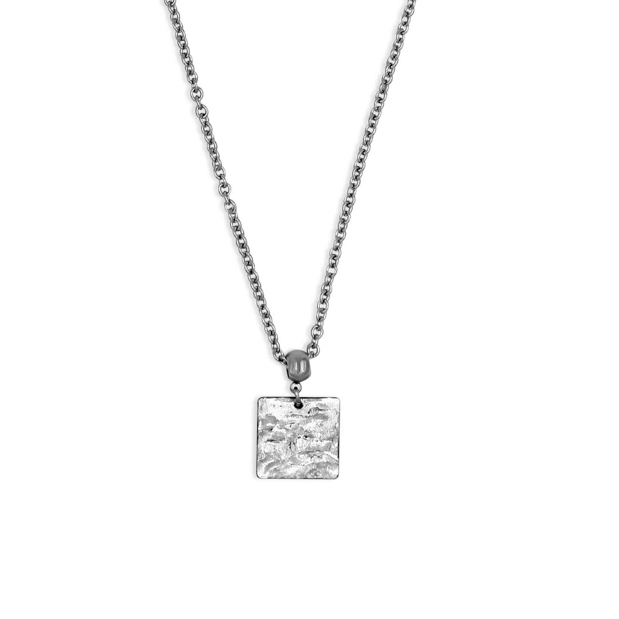 Silver Square Pendant Necklace - Creative Jewelry by Marcia - Asymmetrical Jewelry - Timeless Jewelry