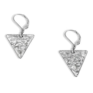 Silver Triangle Earrings - Creative Jewelry by Marcia - Asymmetrical Jewelry - Timeless Jewelry